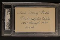 """Earle Neale (d.1973) """"Greasy"""" CHOF Eagles Autograph 3x5 Index Signed PSA Auth"""