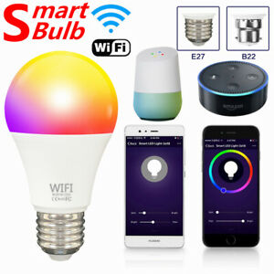 Smart Light LED Wifi Dimmable Bulb RGBCW Lamp Support Alexa Google Home UK