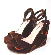 Miu Miu Size 4 (37) Brown Suede Wedge Sandal With Ankle Strap