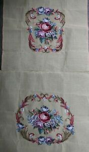 hand worked TAPESTRY upholstery chair BACK & SEAT COVER rose flower medallion