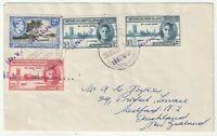 1954 BRITISH SOLOMON ISLANDS MV MALAITA VIOLET CACHETS TO REV VOYCE AUCKLAND NZ