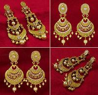 Goldtone Indian Women Drop Dangle Earring Set Bollywood Jewelry BSE104-PAR