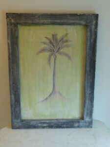 Artisan Palm Tree Painting on Wooden Board 40cm x 55cm Wall Hanging