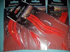 joblot 4 pk RED GUMMI SAND EELS HOOK 5/0 SEA FISHING BOAT ROD COD LURES RIG bulk