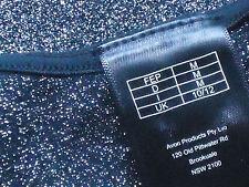 AVON Blk18%MetallicSilverFigureHuggingStretchPartyTank Sz10/12