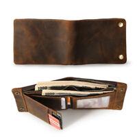 Vintage Men Real Leather Wallet Bifold Purse Money Clip Photo Credit Card Holder