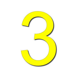 HOUSE NUMBER 3 Arial Acrylic Large Floating Cool Stylish Modern Gloss black DIY