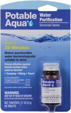 Potable Aqua Water Purification Tablets US Made Germicidal Treatment 50 Tablets