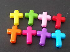 50 AB Multicolor CROSS CROSSES acrylic plastic charms / loose beads / pendants