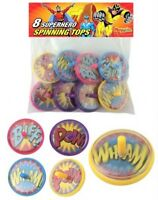 8 Super Hero Spinning Tops - Pinata Toy Loot/Party Bag Fillers Wedding/Kids