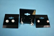 3 Pair Silvertone & Pearl Stud Earrings by AVON - NEW - On Card