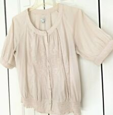 Anthropologie Odille Peasant blouse Ivory embroidered lovely button up top sz 8