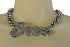 Hot Women Fashion Jewelry Silver Metal Chain Links Necklace BOSS Pendant Hip Hop