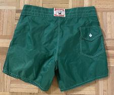 Birdwell Beach Britches USA Made Mens Green Nylon Bathing Suit Swim Trunks Sz 33