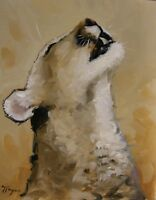 wildlife animal art  portrait Oil painting of a cougar by uk artist john payne