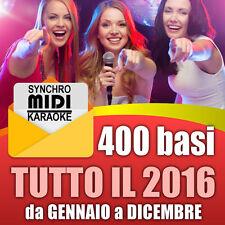 400 BASI per KARAOKE MIDI AGGIORNAMENTO TUTTO IL 2016 da Gennaio a Dicembre