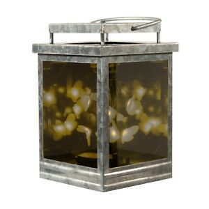 Infinity Hot Plate Wax Warmer Galvanized Lantern LED Lighted Butterflies Glass