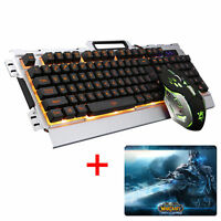 Wired Gaming Keyboard and Mouse 3200DPI Black Yellow LED Backlit For PC Laptop