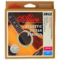 Alice AW432L 1 Set Acoustic Guitar Strings 012-053 Light,Super Light Copper S8V6