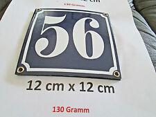 Hausnummer Nr. 56 weisse Zahl auf blauem Hintergrund 12 cm x 12 cm Emaille