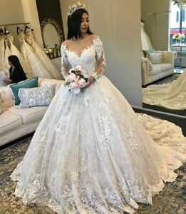 Plus Size Princess Beaded Wedding Dresses Long Sleeves Ball Gowns Lace Applique