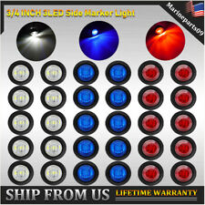 "30x Red&Blue&White 3/4"" Bullet LED Truck Trailer Clearance Side Marker Lights US"