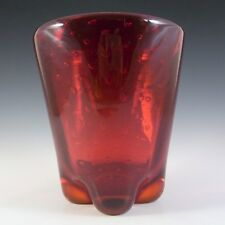 Whitefriars Large Ruby Red Glass Lobed Bubble Vase #9117