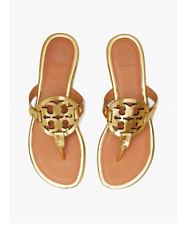 Stunning Women's Tory Burch gold metallic Miller thong sandals shoes size 6.5