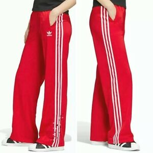 Adidas Originals Women's S Red Tricot Trefoil Hearts Valentine Track Pants NWT