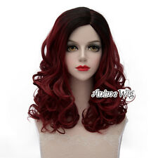 Lolita Black Mixed Dark Red Long 45CM Curly Fashion Party Cosplay Wig + Wig Cap