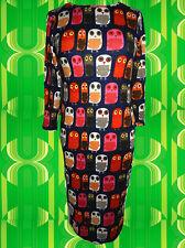 82✪  Vintage Owl Eulen Mini Kleid StrickKleid Retro dunkelblau bunt Gr. 40