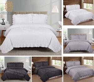 Plain Frilled Edge Duvet Cover Quilt Bedding Set All Sizes with  Pillow Cases