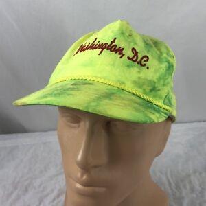 Vtg Washington DC Tie Dye Hat Strapback Cap Green Yellow 90's Tye