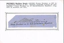 South Africa 1st President Marthinus Wessel Pretorius 1819-1901 autograph signed