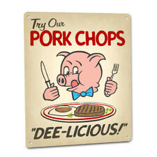 Pork Chops Vintage Style SIGN with Cute Hungry Pig for Diner Cafe Kitchen Eatery