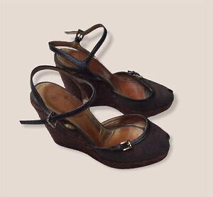 Prada Womens Brown Logo Espadrille Sandals Canvas High Wedge Open Toe Sz 38.5