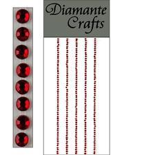 300 x 1mm Red Diamante Self Adhesive Strips Rows Rhinestone Craft Embellishments