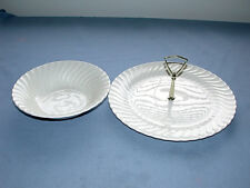 Single Tier Serving Tray Caddy With Matching Swirl Bowl
