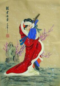 """Chinese silk gongbi painting beauty lady girl 15x11"""" traditional brush ink art"""