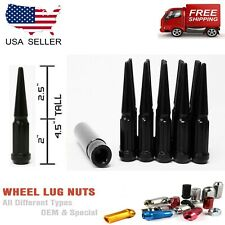 "20PC 1/2x20 BLACK 4.5""SPLINE SPIKE LUG NUTS FITS MUSTANG/WRANGLER+ANTI THEFT KEY"