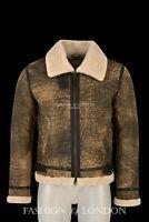 Mens Sheepskin Fur Jacket Taba Beige Fur 100% Real Shearling Aviator Jacket Tops