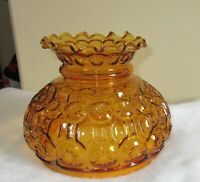 "Vintage 7"" Fitter GWTW Amber Moon & Stars Glass Hurricane Oil Lamp Shade"