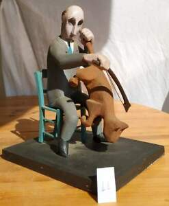 "DAVID KENNEDY / GREEK-BRITISH ARTIST ""Viola Player"" TABLE SCULPTURE CIRCA 1980"