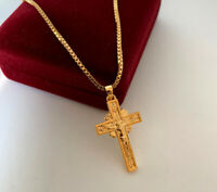 Halskette Kreuz Anhänger mit Swarovski Kristall 999er Gold 24K vergoldet 50 cm
