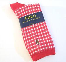 Ralph Lauren Ladies Cotton Blend Crew Socks Gingham Check w/ Polo Pony Red - NEW
