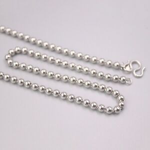 Pt950 Real Platinum 950 Necklace For Women Female 3.5mm Polish Beads Chain 21''L