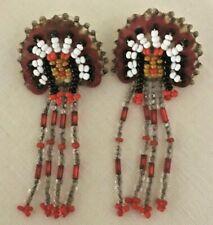 Vintage Beaded Native American Indian Chief Post Dangle Earrings