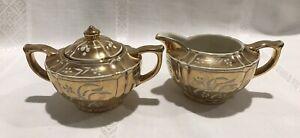 Vintage SADLER Covered Sugar Bowl & Milk Jug Creamer Gold & White: Made England