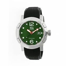 Reign Tudor Green Patterned Dial Black Silicone Mens Watch RN1204