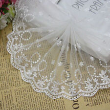 10cm*2 Yard Net Lace Trim Ribbon Embroidered Flowers Dress Skirt Crafts DIY OO14